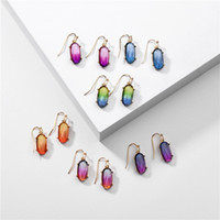 Colorful Transparent Resin Hexagon Earrings Geometric Acryli...