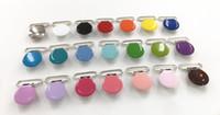 """Chenkai 1 """" 25mm Yuvarlak Metal jartiyer Emzikler tutucu klipler DIY bebek duş Kukla emzik zinciri klipler Oyuncak kurşun ücretsiz 21 renkler DHL"""