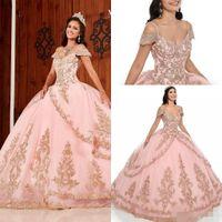 2020 Pink Quinceanera Vestidos Spaghetti Straps Off The Ombro Renda de Ouro Applique Sala de Camadas Feito Personalizado Feito Doce 16 Prom Ball Vestido