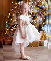 공 가운 안녕 Lo 화이트 레이스 꽃 여자 첫 성 찬 식 드레스 2019 크리스마스 파티 착용 첫 성령 성 찬 식 드레스