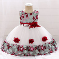 Retail Colorblock Lace Floral Baby Girl Dress Embroidered Tu...