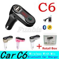 C6 FM-передатчик Aux Модулятор Беспроводная связь Bluetooth Handsfree Car Kit Car Audio MP3-плеер с Dual USB Автомобильное зарядное устройство TF SD USB 100PCS