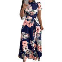 Women Long Maxi Dresses Summer 2019 Floral Print Womens Dresses Casual Woman Dress Plus Size Elegant Turtleneck Bandage Short Sleeve Vestido
