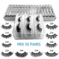 MAYSHIKOU Wholesale 3D False Eyelashes sets 10Pairs Long Natural Hair lashes-Extension Makeup Fake Eyelash Synthetic Hair