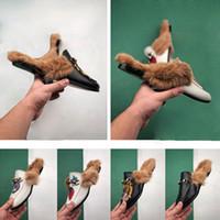 Princetown ricamato Horsebit pantofola in pelle con pelle fragola ragazza delle donne Princetown Mules pantofola Agnello lana scarpetta progettista