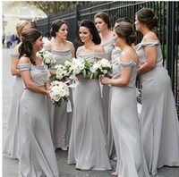 Cheap Grey Long Bridesmaids Dresses 2019 New Floor Length Sp...