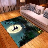 Halloween del área impresa Alfombras Alfombras nórdica franela sala decoración estera del piso Alfombras bruja Luna gran alfombra alfombra de la sala