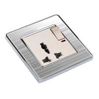 Универсальный 3 отверстие переключается гнездо с неоновой Coswall роскошные стены розетки Enchufe панели из нержавеющей стали электрический штекер