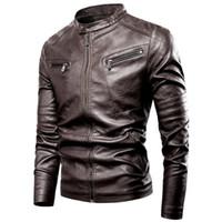 Luulla мужская 2020 весна новый мотор повседневная винтажная кожаная куртка мужчины бренд осень байкер заклепки карманы искусственная кожа куртка пальто мужчины