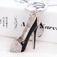 2019 High heel shoes key chains rhinestone car key rings sil...