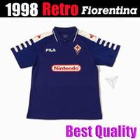 1998 1999 Ретро Фиорентина Футбол Джетки 9 Batistuta 10 Rui Costa Custom Vintage 98 99 Флоренция Домашняя футбольная футболка CamiSas de Futebol