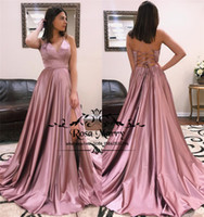 Blush Pink Backless Cheap Prom Dresses 2019 A Line Halter Pl...