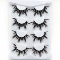 4 Çift Doğal uzun Vizon Saç Yanlış Eyelashes Kalın Göz uzun ömürlü 3D Kirpikler Makyaj Güzellik maquiagem Uzatma Aracı