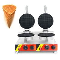 CEの承認が付いているコマーシャルダブルヘッドアイスクリームコーンワッフルメーカー鉄220V / 110V電気ワッフルコーン機械機械
