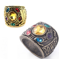 Infinity Gauntlet Power Ring Movie Avengers 3 Gold Thanos Power Gauntlet Anillo de cristal The Space Stone Crystals Ring for Men