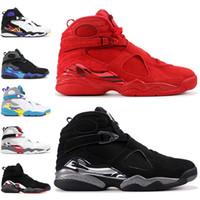 Top 8 días de San Valentín 8s Zapatos baloncesto de los hombres del Aqua Negro Blanco 3PEAT Chrome PLAY OFF para hombre entrenador de atletismo 41-47 deportes al por mayor zapatillas de deporte