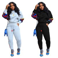 New Winter Women Tracksuit O Neck Long Sleeve Top Pants Patc...