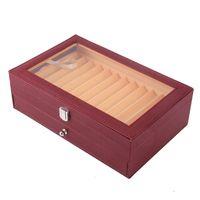 24 Pluma de madera del sostenedor del caso de madera de la caja de almacenaje de la pluma del colector Organizador Caja de vino rojo