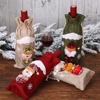 Rouge vin bouteille couverture de Noël Santa Champagne vin Sac De Noël Décorations 30*14 cm Rouge Vin Bouteille Couverture Sacs de Noël Cadeau Lxl346l