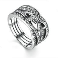 Charme Cross Bow Ring para Pandora 925 Sterling Silver Clássico Senhoras Anel Holiday Presente com caixa original com logotipo