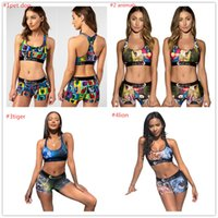 Femmes Survêtement été I_shaped Gilet + Shorts 2Piecs Ensemble bikini femme Tops Shorts Maillot Crop Imprimé animal Cartoon Maillots de bain C6304