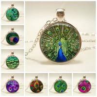 جديد جميل الطاووس الريش بيان قلادة الزجاج كابوشون معلقة للرجال نساء مجوهرات هدية الإبداعية