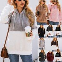 2019 manica Sherpa Patchwork Pullover lungo cerniera Felpe morbide Pile Outwear maglioni con tasche Top Coat Hoodie C92608