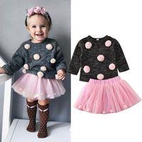 2Pcs Baby Girl Осень Одежда Шары свитер + тюль юбки платье малышей Дети девушки зима теплая Outfit одежда Set 6M-4Т
