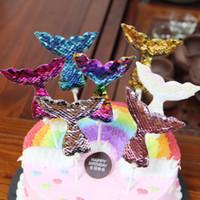 Pearl русалка хвост пришивания торт Toppers Блеск Свадьба День рождения Рождественский фестиваль партии Украшение торта Поставка деталей новизны