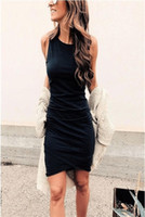 Womens Bodycon Dresses 2019 New Arrival Women Solid Color Sl...