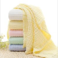 6 Strati Colore solido Bagno Asciugamano Asciugamano 100% Asciugamani in cotone Neonatale Assorbire Assorbire Coperta Swaddle Wrap Biancheria da letto 105 * 105 cm Y200109