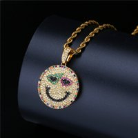 Multicolor Cubic Zirconia Emoji Pendant Necklace For Men 201...