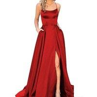 Cheap Hot Sale Prom Dresses Burgundy Evening Gowns Satin Sid...