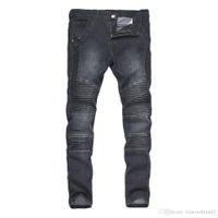 Драпированные мужские джинсы Biker Street Designer Slim Fit Mean Hombres Bantal Pantalones Брюки