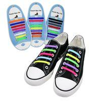 12 الألوان مصمم أربطة الحذاء الكبار التعادل خالية كسول الأربطة سيليكون للجنسين لا التعادل الأحذية الدانتيل لجميع الأحذية 8 أحجام 16 قطعة / الوحدة مع حزمة