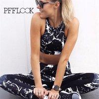 Pfflook Nueva Ejecución de juego determinado de deporte Mujeres Yoga Set Jogging Sport Wear Yoga para mujer de dos piezas de ropa del entrenamiento de gimnasia 2020