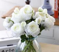 flor de imitação de lótus 2 ramo curto Paeonia lactiflora, flor artificial, decoração de mesa, produtos de flor domésticos Entrega gratuita L921