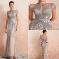 Gatsby 2019 Luxus erstaunliche Perlen Kristall Meerjungfrau Abendkleider Yousef Aljasmi wunderschöne arabische echte Prom Kleider Runway Fashion auf Lager