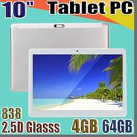 """838 جودة عالية 10 بوصة MTK6580 2.5D الزجاجات IPS بالسعة شاشة تعمل باللمس Dual SIM 3G GPS Tablet PC 10 """"Android 6.0 Octa Core 4GB 64GB G-10PB"""