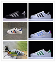Adidas Ultra Superstar 80s 2018 NUEVOS Originales Superstar Holograma blanco Iridiscentes Superestrellas junior 80s Pride Sneakers Super Star Mujeres Hombres Deporte