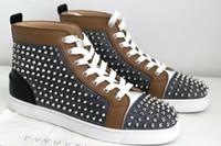 Sneakers di lusso di qualità migliore Scarpe da ginnastica inferiori rosse Scarpe da uomo a punta Lourivets Jeans piatte Sneakers a punta High Top Outdoor Walking Spikes piatte