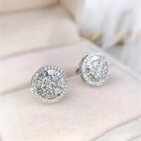 Cercle goujon boucles d'oreilles bijoux de luxe 925 argent sterling Plein Princesse coupe Topazz cz Diamond Gemstones Femme mariage Boucle d'oreille de mariée