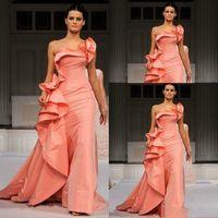 2020 인어 이브닝 드레스 엘리 사브 한 어깨 층 길이 긴 플러스 사이즈 특별 행사 드레스 연예인 댄스 파티 파티 드레스