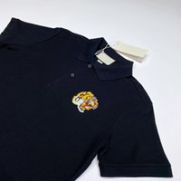 20FW Made in Italy Tiger-Kopf-Stickerei-Polo mit kurzen Ärmeln: Business, Polo-T-Shirt Solide Einfache Summer Street T Tooling HFYMTX684