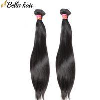 """Bella Hair 2pc Brasileño / Malasia / Peruano / Indio Paquete de cabello Human Virgin Hair Extensions 8 """"-30"""" Sedky Recta Weave Color Natural"""