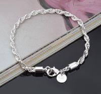 3MM 4MM Breite 20cm Länge Seil-Ketten-Verbindungs-Armband Art und Weise 925 Sterlingsilber überzogene Schmucksache-Armband-freier Verschiffen-Großverkauf