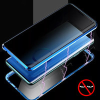 Privacidade metal magnético Caixa do telefone do vidro moderado para o Samsung Galaxy S8 S9 S10 Plus Nota 8 9 Magnet Anti-view 360Protective Tampa