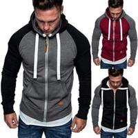 Kış Sonbahar Erkekler Rasgele Hoodie Sıcak Fleece Kazak Patchwork Fermuar Kapşonlu Coat Sweatershirt Kazak Üst Artı boyutu M-3XL