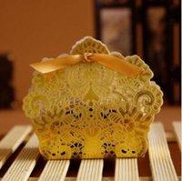 Laser Cut creux Dentelle Fleur d'or blanc rouge Bonbonnière de mariage Parti bonbons bonbons cadeaux Favors boîtes de faveur