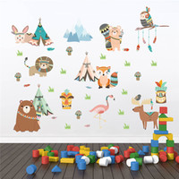 Animais engraçados Tribo Indiana Adesivos de Parede Para Quartos de Crianças Decoração de Casa Coruja Dos Desenhos Animados Leão Urso Raposa Decalques Em Parede Pvc Mural Art